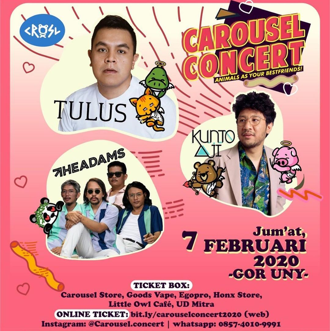 Line Up Carousel Concert: Tulus, Kunto Aji, The Adams